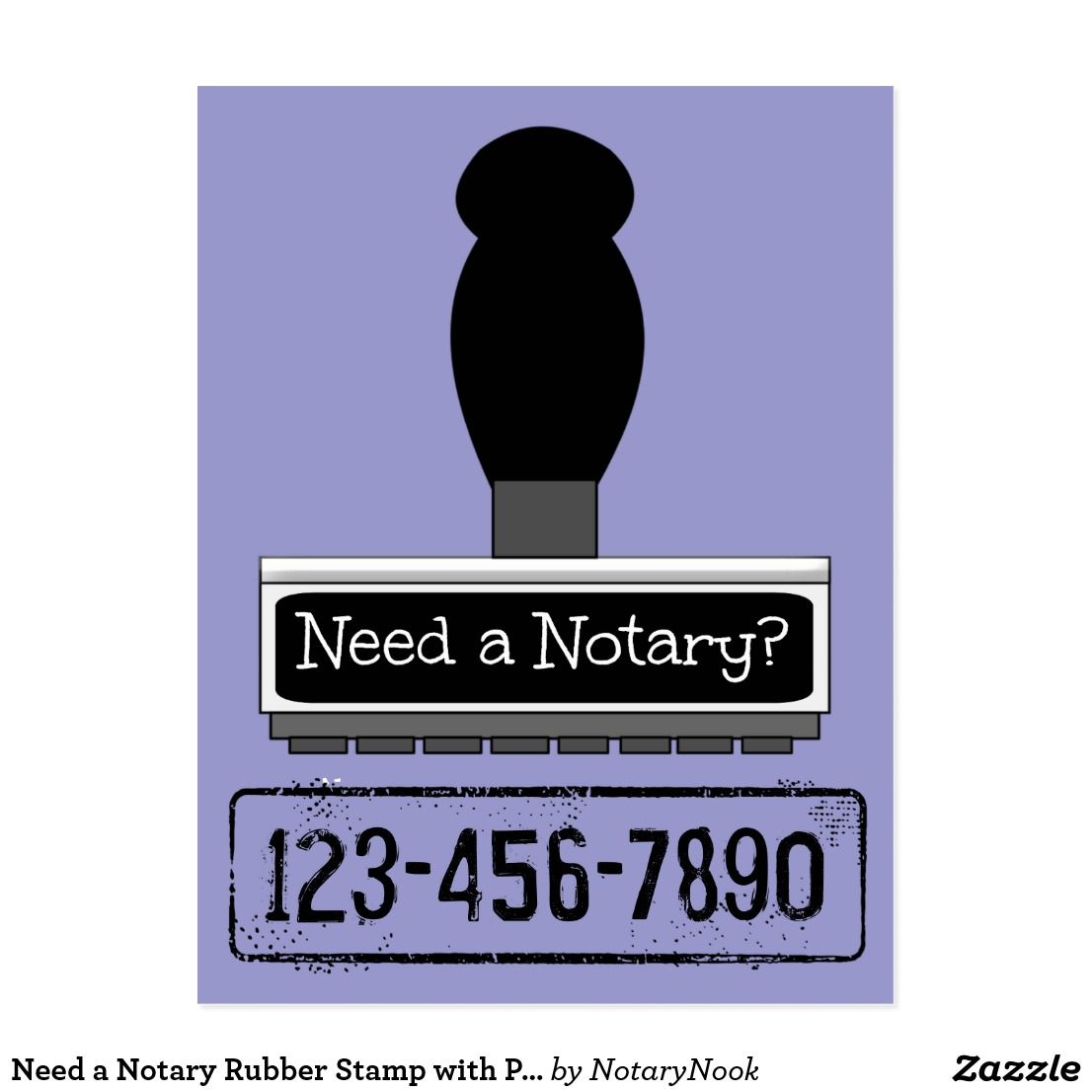Need a notary rubber stamp with phone number postcard
