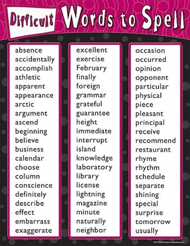 Difficult Words To Spell Spelling Poster Chart Tcr New For The