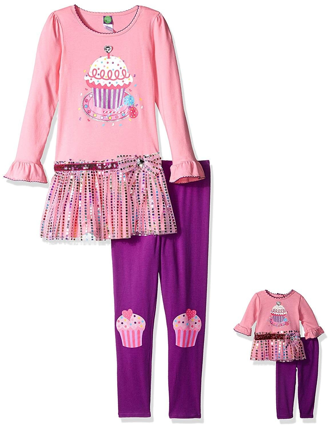 "Dollie and Me Sparkley Legging Set W//matching outfit for 18/"" Play Doll Purple"