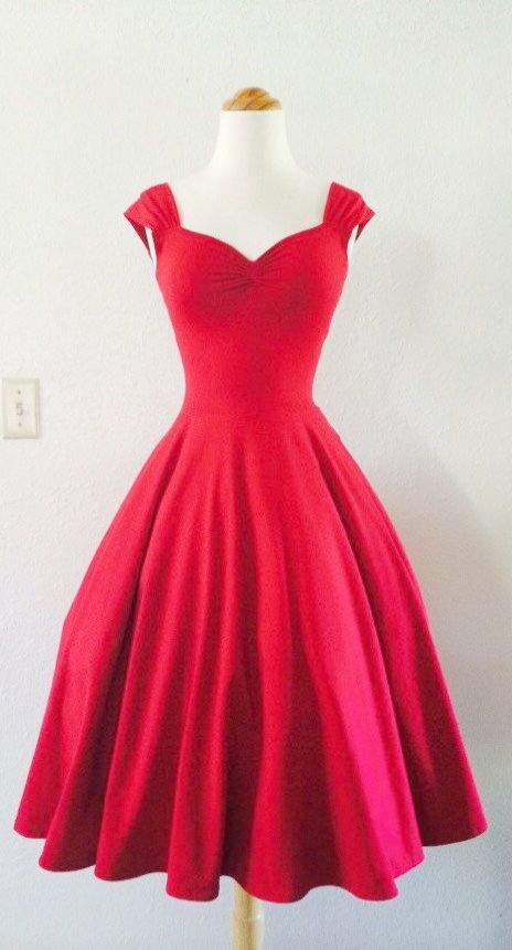 Tea Length Red Semi Casual Dresses