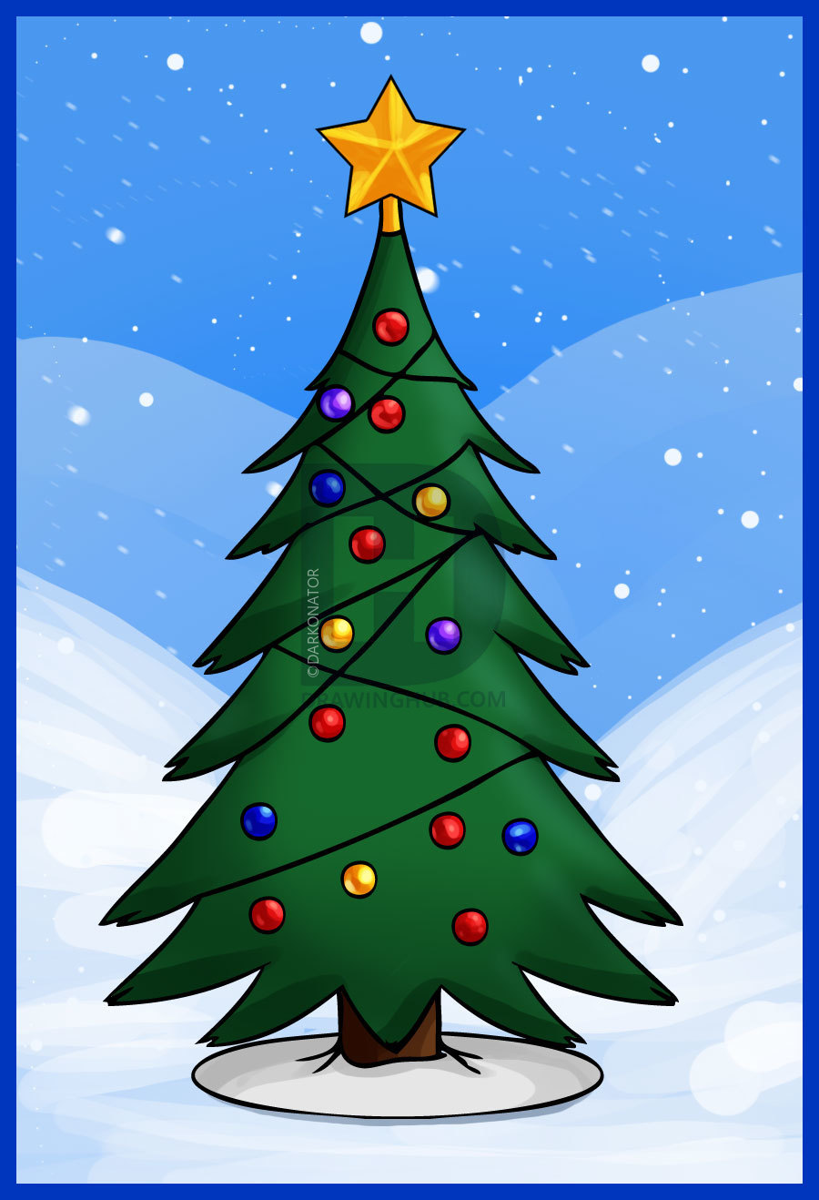 How To Draw A Simple Christmas Tree Step By Step Drawing Guide By Darkonator Christmas Tree Drawing Christmas Tree Drawing Easy Christmas Tree Painting