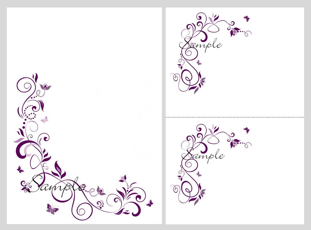 100 Printable Wedding Invitation Kit Purple Butterfly Invitations – Blank Invitation Template