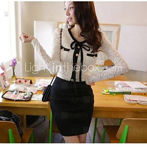 [USD $ 13.33] Women's V Neck Lace Splicing Mini Dress