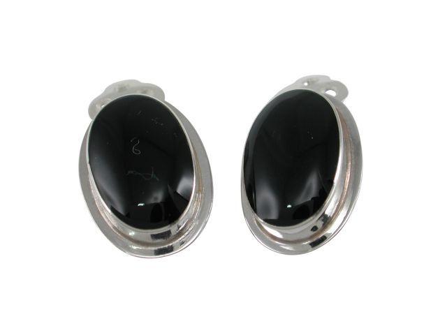 Sterling Silver 16x11mm Oval Onyx Clip Earrings