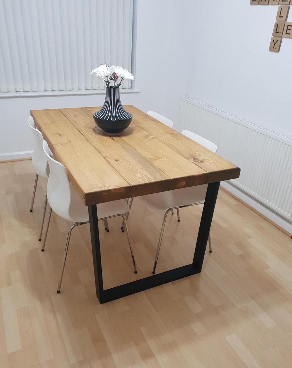 Industrial Reclaimed Wood Look Sleeper Dining Table On Trapezium