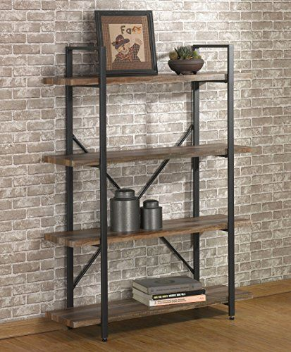 O K Furniture 4 Tier Bookcases And Book Shelves Industrial Vintage Metal And Wood Bookcases Furniture Vintage Brown Vintage Industrial Furniture Wood Bookshelves Home Office Furniture