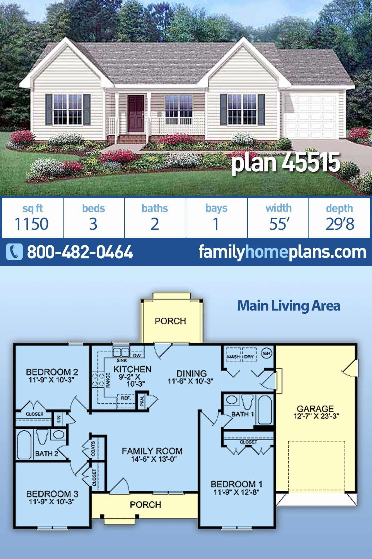 Basic Ranch Style House Plans Inspirational Ranch Style House Plan With 3 Bed 2 Bath 1 Car Garage In 2020 Family House Plans Ranch Style House Plans Sims House Plans