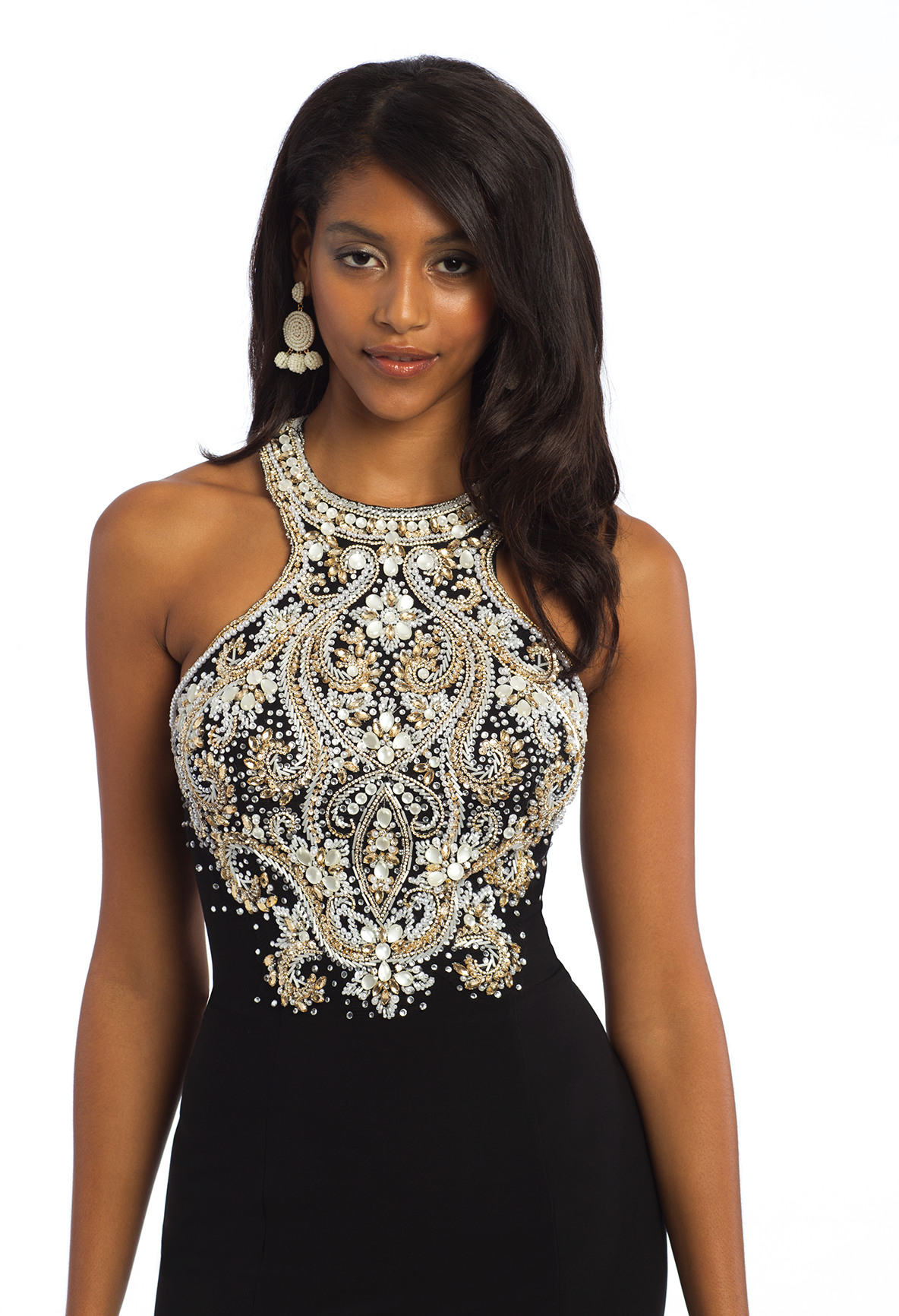 d057fd22cd Show off your shoulders in this figure-flattering evening gown! With its  beaded halter neckline