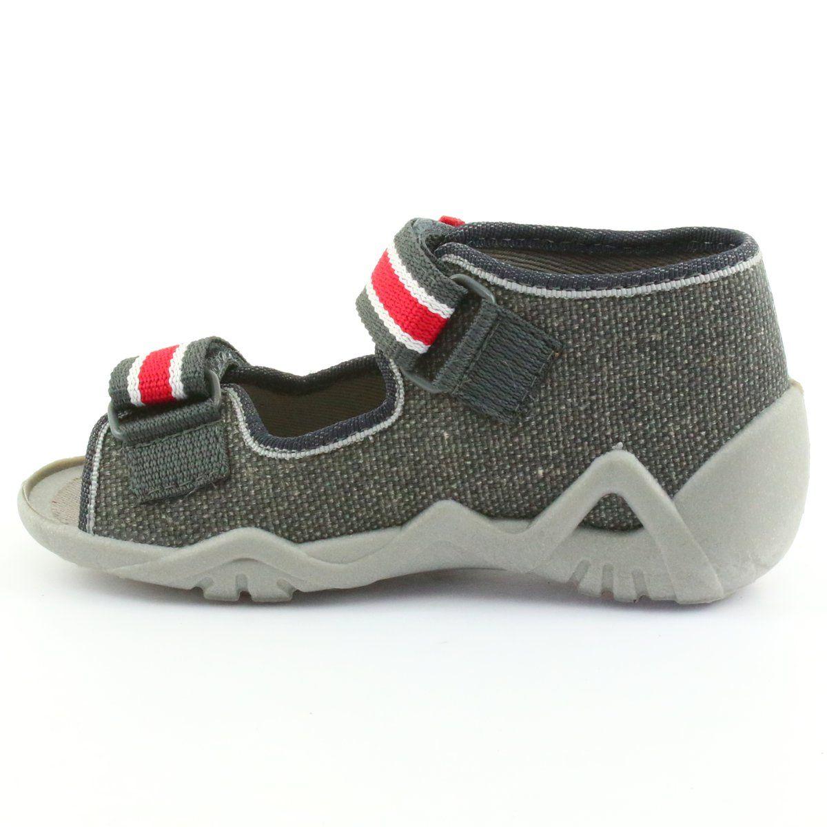 Kapcie Chlopiece Napa Befado 250p089 Szare Czerwone Baby Shoes Shoes Fashion