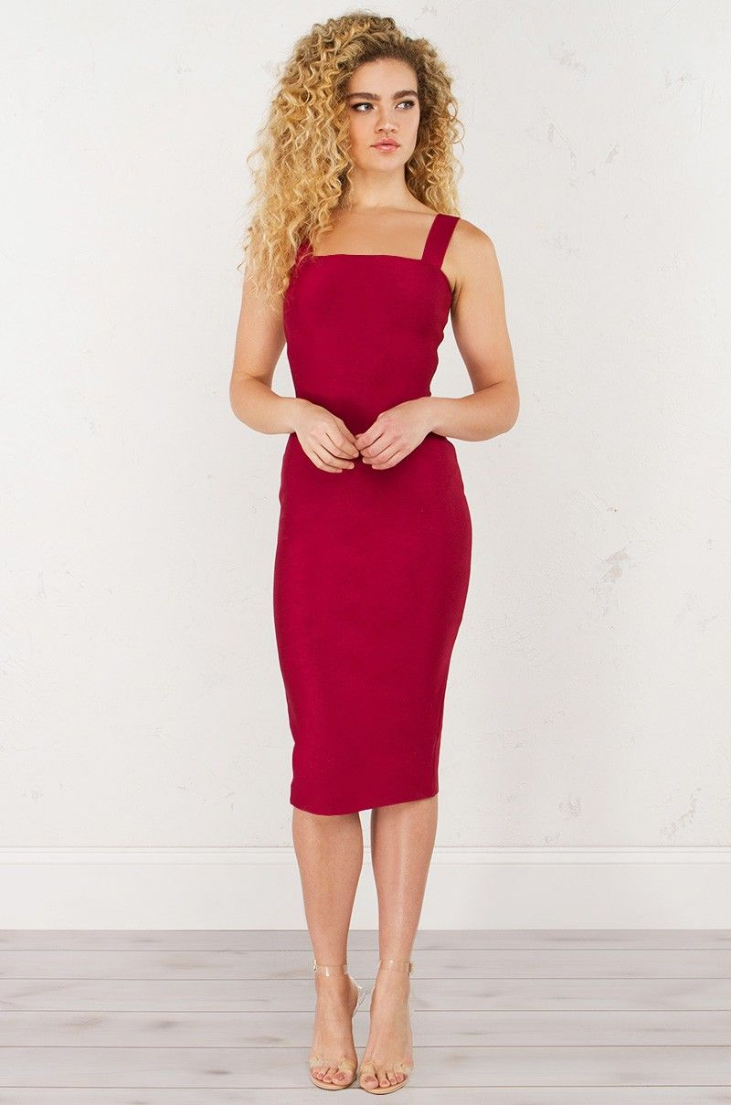 Front view thin strap bandage dress in red new at akira