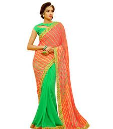 Chiffon bandhej and lehariya style saree with blouse piece Multi-Color Regular Unstitched blouse rajasthani bandhani Wedding saree