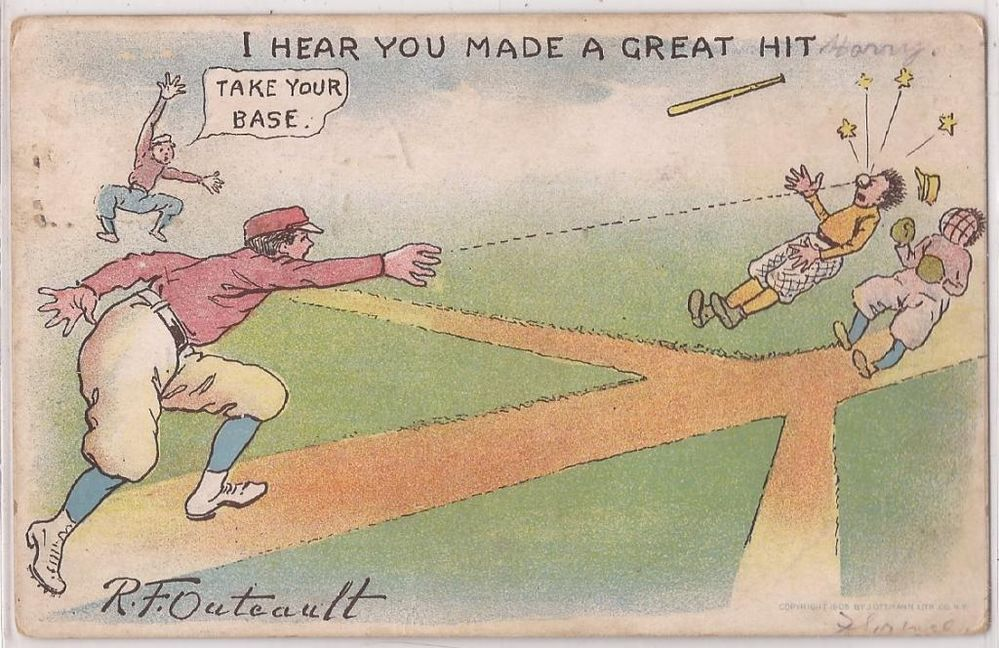 "1908 Baseball Postcard Artist-Signed ""RF Oulteault"" I Hear You Made a Great Hit"