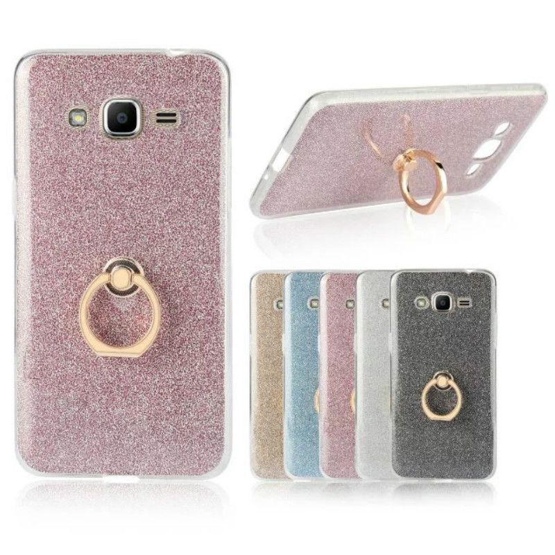 For Samsung Galaxy J2 Prime Case Transparent Soft Tpu Case Glitter Metal Ring Back Cover For Samsung Iphone 6 Cases Silicone Phone Case Holder Phone Case Cover