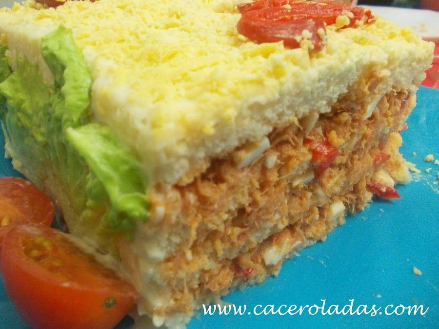 Pastel frio de atún con pan de molde. | Cocina