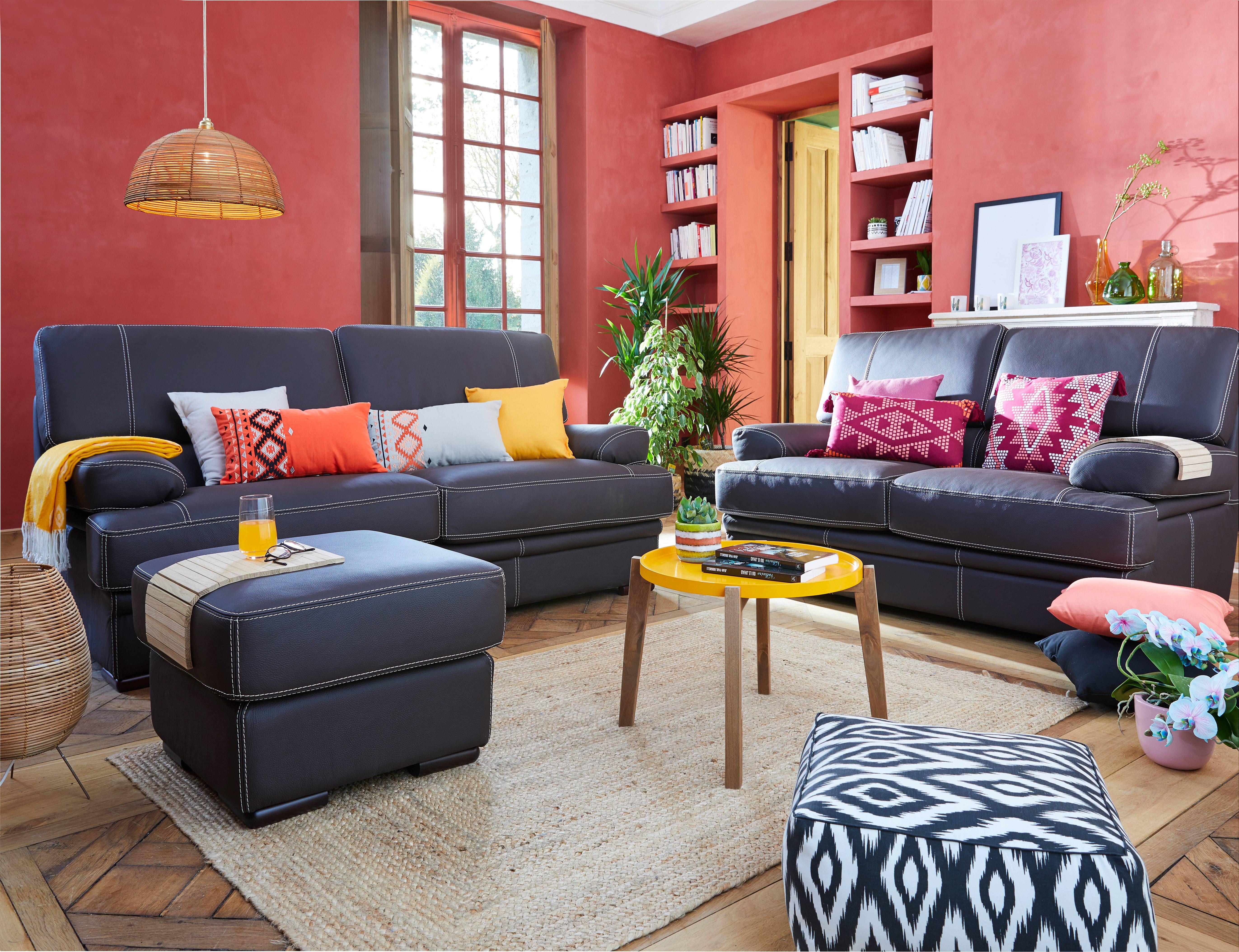 Canapé Multi Couleur avec salon ethnique - ensemble canapé en tissu bleu marine, coussin multi