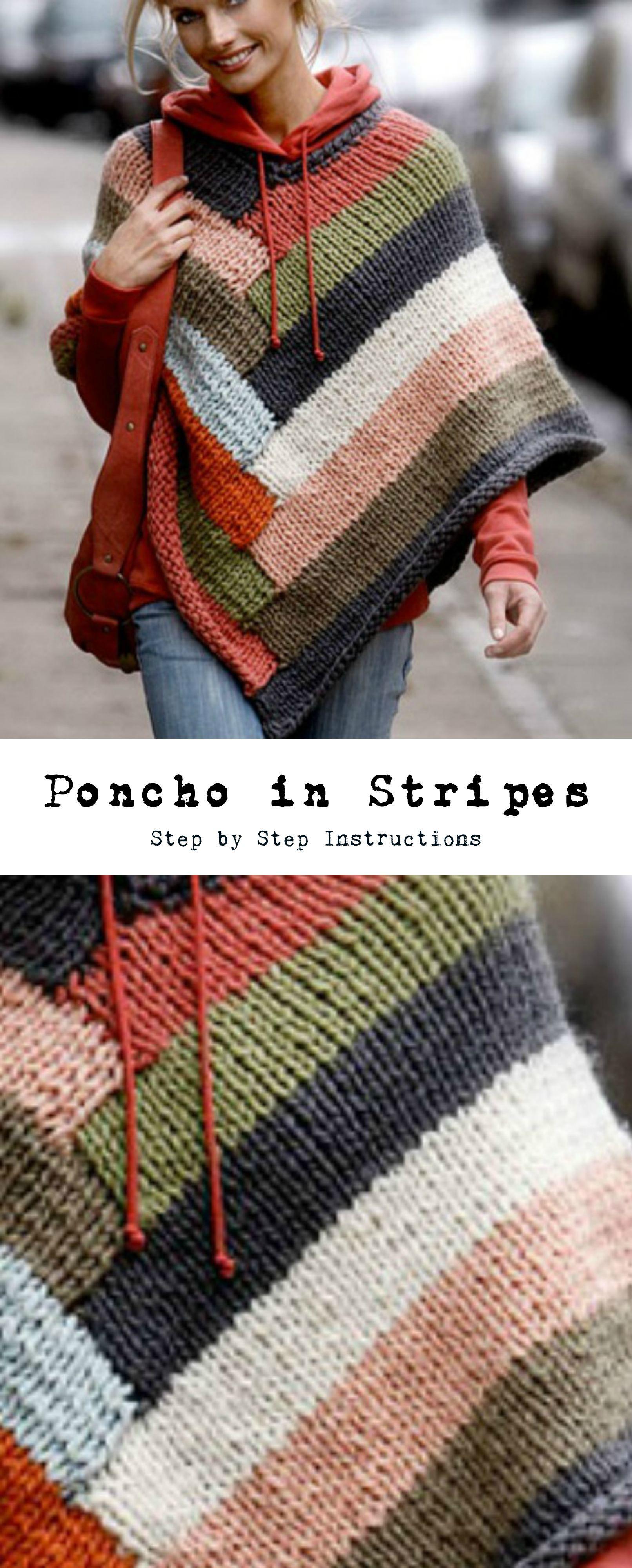 Poncho In Stripes   PUNTO   Pinterest   Ponchos, Tejido y Chal