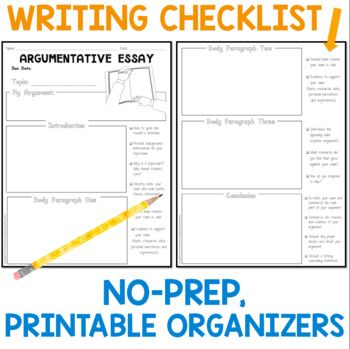 Argumentative Essay Writing Resources  Free Graphic Organizer