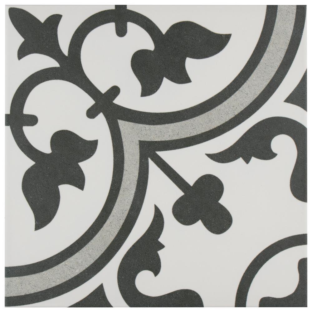 Merola Tile Arte Black Encaustic 9 3 4 In X 9 3 4 In Porcelain Floor And Wall Tile 11 11 Sq Ft Case Porcelain Flooring Porcelain Floor Tiles Merola Tile