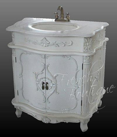 French Mahogany Marble Vanity Unit With Detailed Carving French