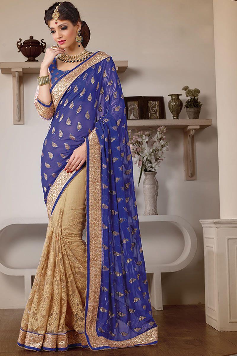 Blue color heavy work wedding bridal designer saree from skysarees