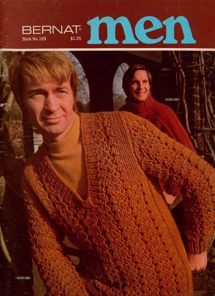 Bernat Men Book 169 Knitting Crochet Patterns Sweaters Jacket Fair ...