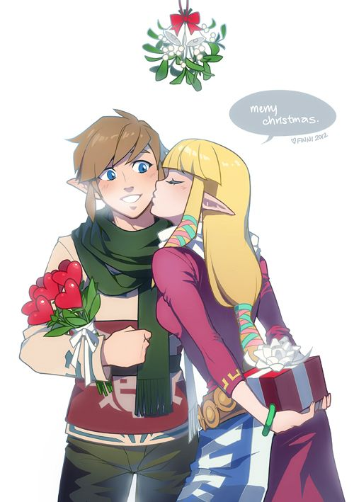 Link and Zelda celebrating Christmas here on Skyloft Check more at ...
