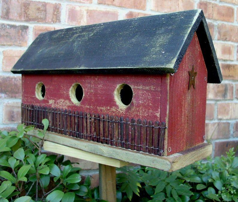Primitive Folk Art Saltbox Farmhouse Birdhouse #birdhouses