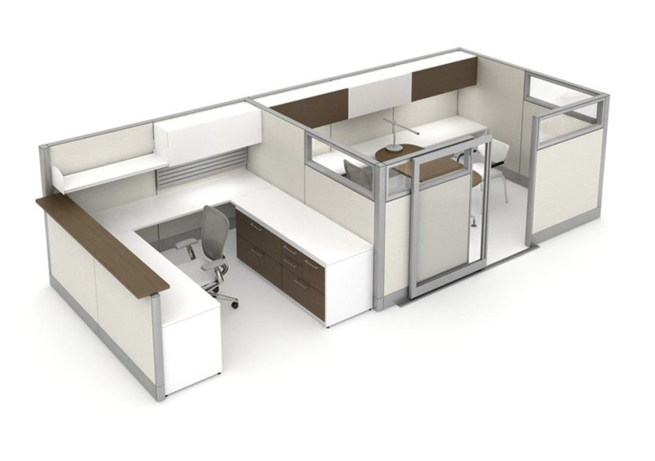 White Office Cubicle Design With Small Mieeting Room Sliding Door
