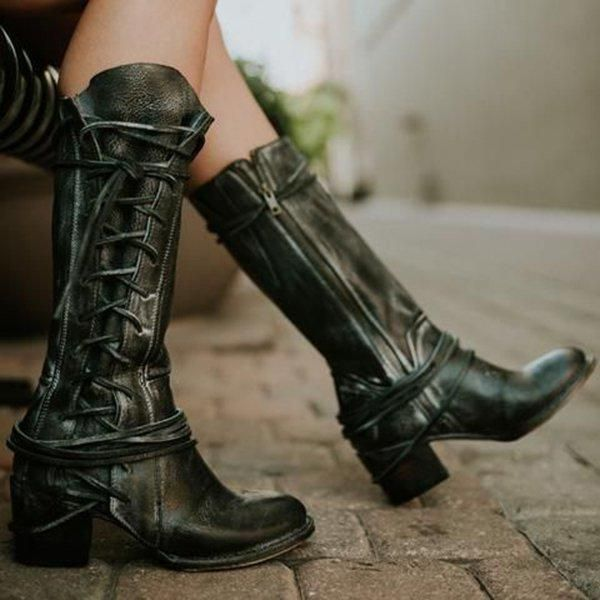 9b4dbca7dac Women Side Lace-up Low Heel Boots Vintage Comfort Boots