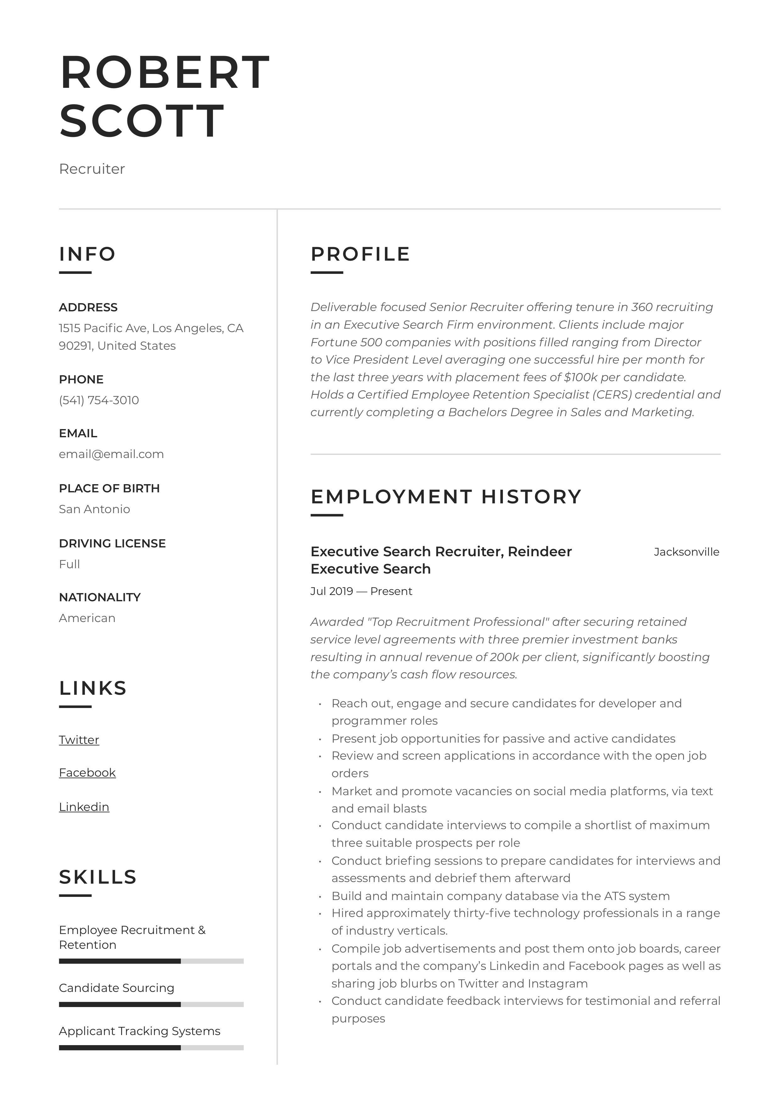 Recruiter Resume Sample Recruiter Resume Recruitment Retail Resume