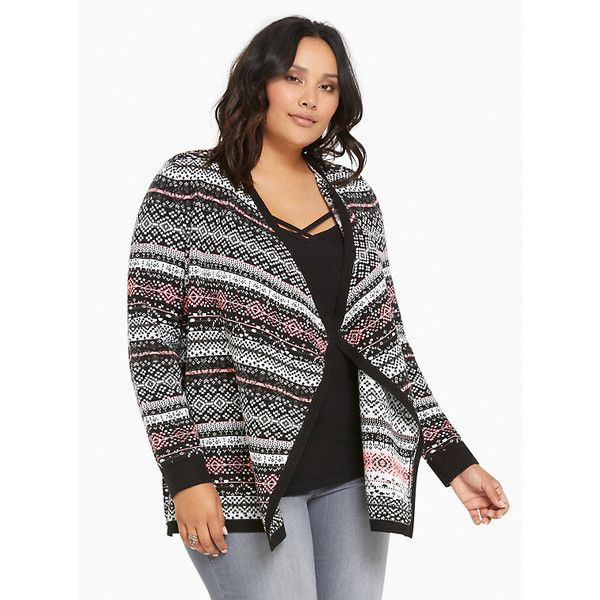 Torrid Fair Isle Knit Draped Cardigan ($65) ❤ liked on Polyvore ...