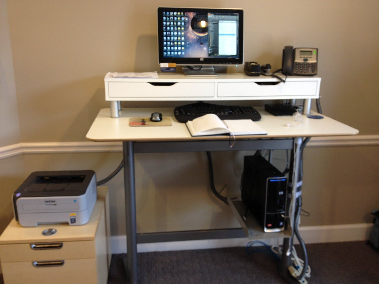 Monitor Stand Ikea Billsta Bar Table Into Standing Work Station My Home Office