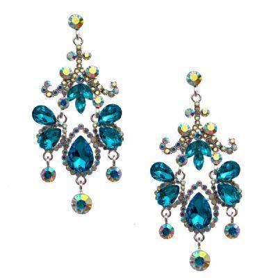 #jewelry Silver Aqua Rhinestone Teardrop Pear Shape Chandelier Dangle Earrings with Round Cut Crystals Dangling