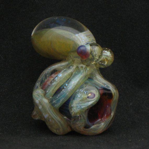Octopus Small Dread Bead Hand Blown Dichroic by FullBlownGlass, $35.00