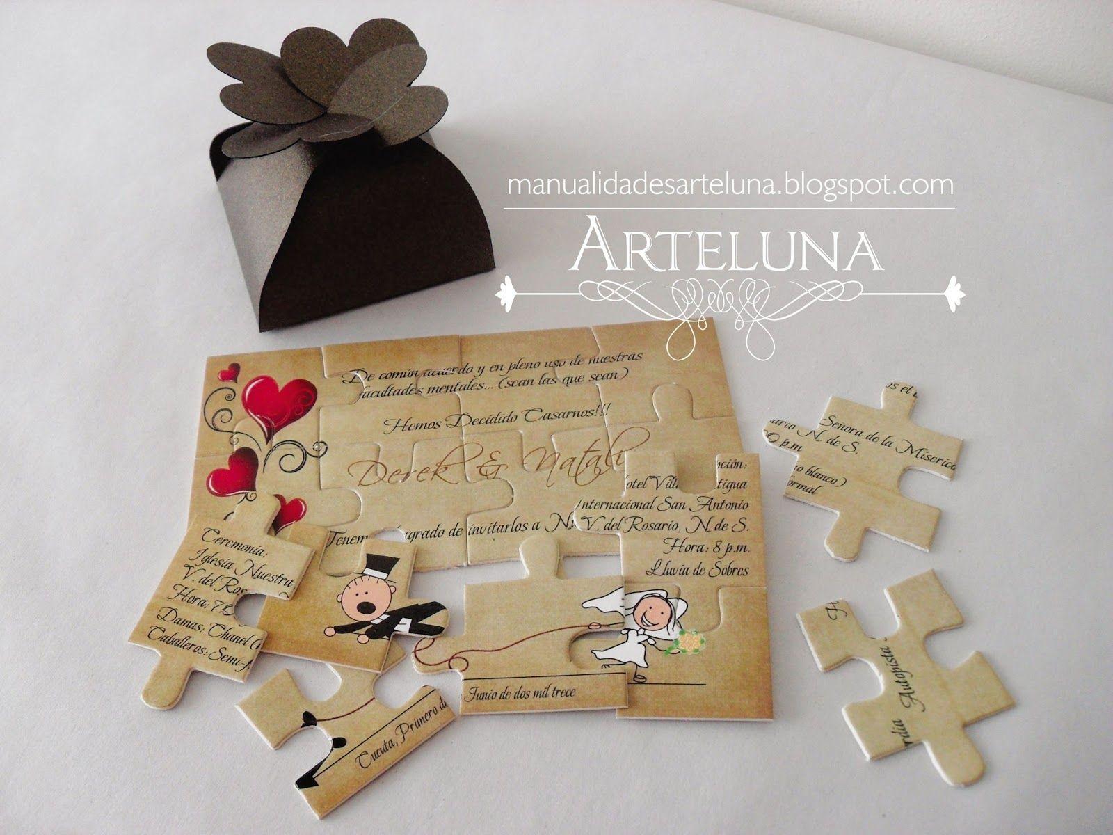 Arte luna tarjeta de matrimonio rompecabezas boda - Tarjeta de boda ...