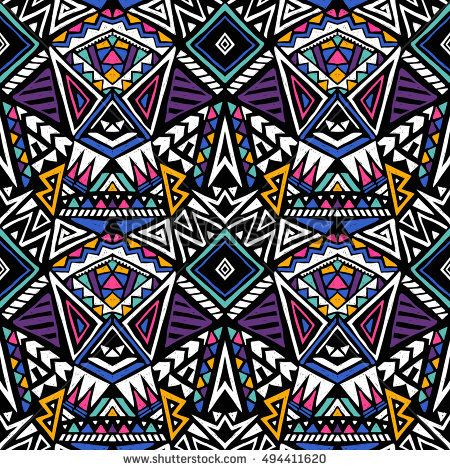 Stock Vector Neon Colors Tribal Vector Seamless Pattern With Triangles Aztec Abstract Geome Abstract Geometric Art Print Geometric Art Prints Seamless Patterns