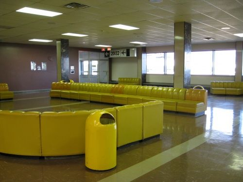 And look at these amazing yellow sectional couches  in the Gander Intnl. Airport, Nfld.