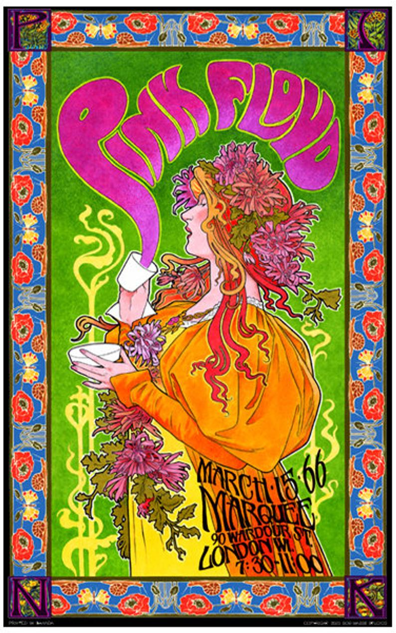 Vintage Retro Concert Gig Poster PINK FLOYD 5 A4,A3,A2,A1 Home Wall Print