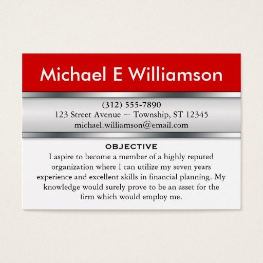 Red Header RESUME Business Cards - resume business cards