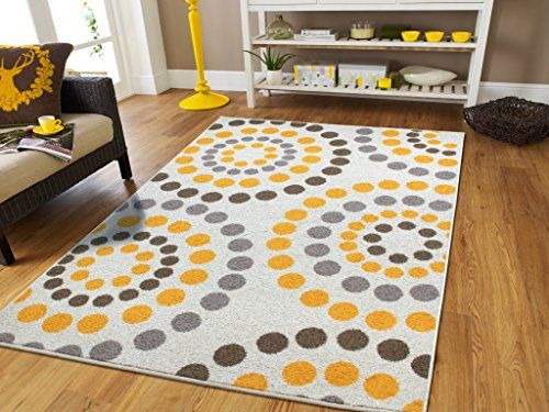 New Fashion Abstract Bright Soft Rugs For Living Room Area Clearance Rug With Circles Dots Optic Cream Yellow Grey Browns Modern