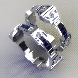 R2d2 Wedding Bands by Paul Michael Designs
