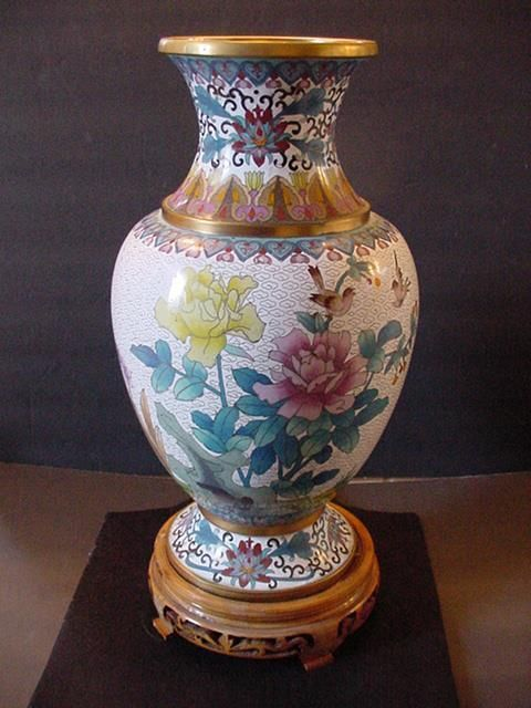 Vintage Chinese Cloisonne Vase Wrosewood Stand Chrysanthemums Birds