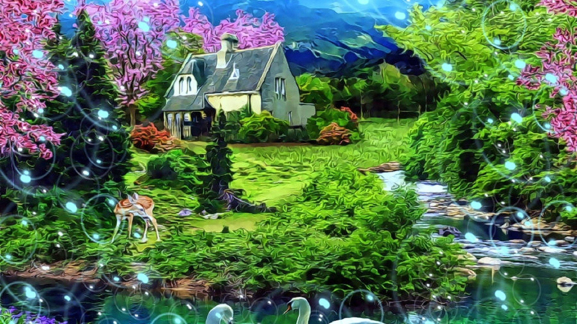 Paradise Spring Paintings Deer Beloved Valentines Animals Pond Plants Love Seasons Cottages Flowers Gardens Parks Attractions Dreams Sky Swans Drawings Creative Pre Nature Trees Architecture Landscapes Gardening Scenery Lovely Wearther Picture Gallery