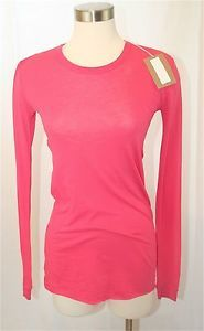 Enza Costa Long Sleeve Tissue Jersey Crew T Shirt MSRP $105 in Lipstick Coral