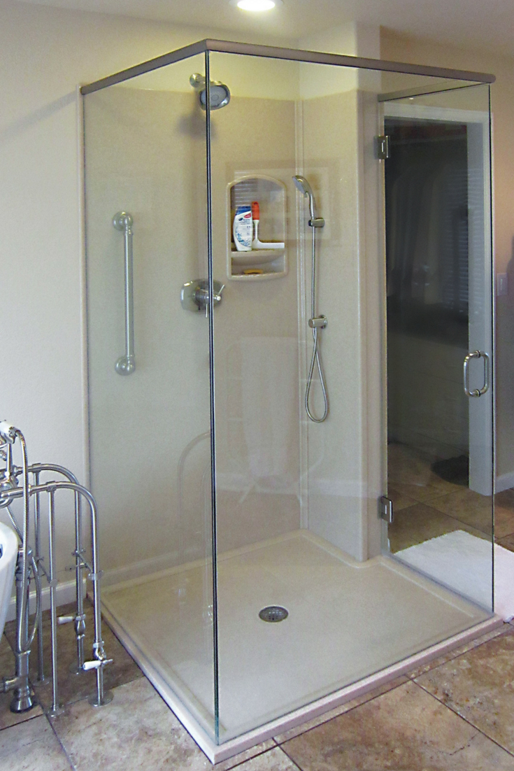 Custom Matching Solid Surface Low Curb Shower Base With Shower Panels |  Innovate Building Solutions