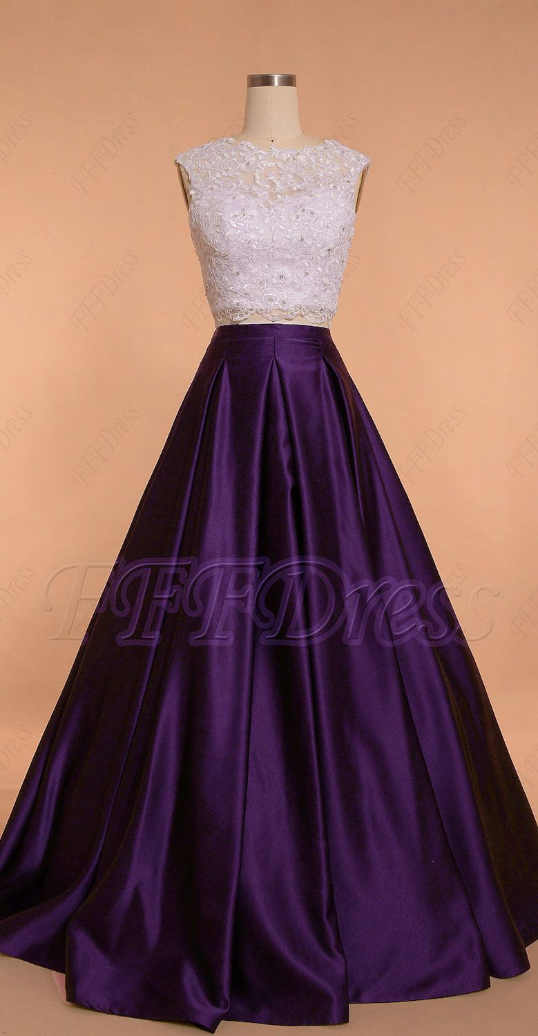 Dark purple two piece ball gown prom dresses long in 2020