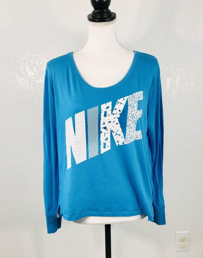fdcf0c1f6985a8 Nike Shirt T Tee Women's SZ S Turquoise Blue Long Sleeve Crop Top Cotton  Blend   eBay