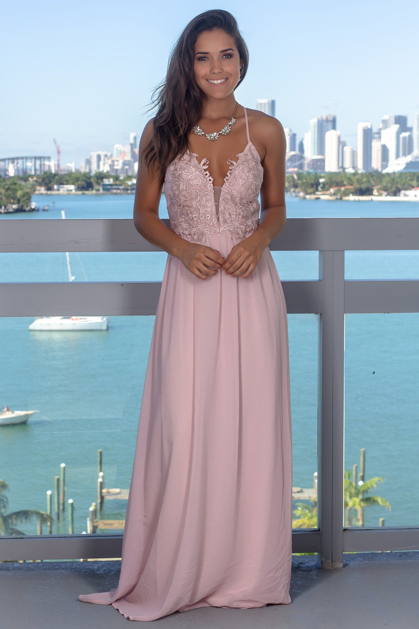 5250a75037e Dusty Pink Maxi Dress with Criss Cross Back in 2019