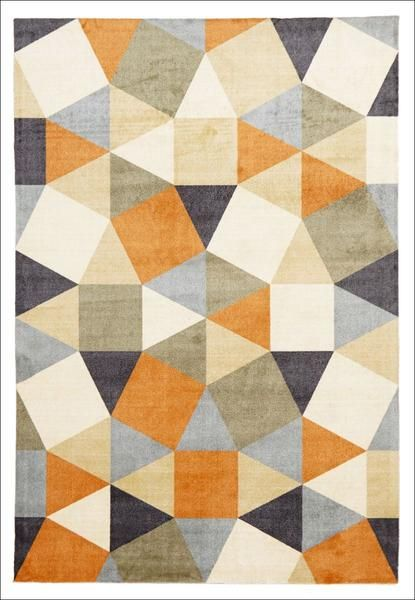 Calais Orange Multi Coloured Geometric Squares Triangles Modern Rug Around The House Pinterest Rugs Rugodern