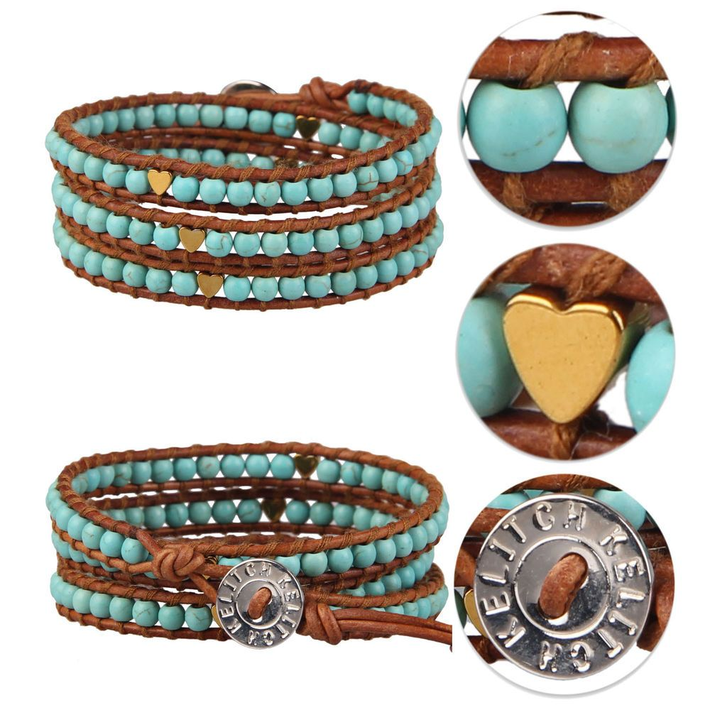 Kelitch Natural Turquoise Bead Gold Heart 3 Wrap Bracelet Leather Jewelry Bangle #Kelitch #Bangle